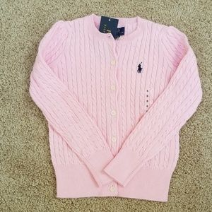 NWT! Polo ,Kids girls size 5, pink cotton cardigan